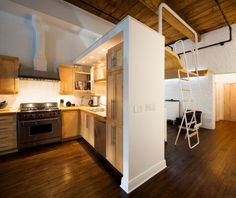 kitchen & bedroom in the perfect #smallspace - 700 sq ft loft #montreal