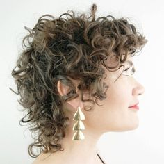 Tiered earrings with a hidden connection that provides fluid movement between the pieces. Brass with sterling posts and back. Two-tier version is just over long, three-tier version is just over 2 long. Handmade in Portland, OR. Shortish Haircuts, Short Curly Hairstyles For Women, Haircuts For Fine Hair, Permed Hairstyles, Crown Hairstyles, Wavy Haircuts, Curly Hair Cuts, Short Hair Cuts, Curly Hair Styles