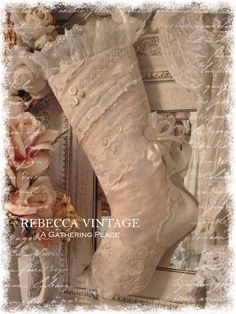 2014 Vtg Pink Lace Christmas Stocking - Christmas Stockings - A Gathering Place