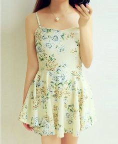 Ditsy Floral Print Chiffon Strappy Dress - Casual Dresses - Dresses - Clothing - All Products