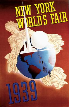 New York World's Fair Travel Poster (Grinnell Litho Co., Poster X John Atherton - Available at 2014 November 22 - 23 Vintage. Art Deco Posters, Poster Prints, Art Prints, Canvas Prints, Framed Prints, Vintage Travel Posters, Vintage Postcards, Poster Vintage, New York Poster