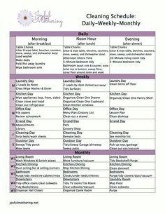 Joyful Mothering's Home Cleaning Schedule