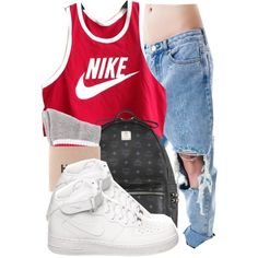 A fashion look from July 2014 featuring NIKE tops, UNIF jeans and NIKE shoes. Browse and shop related looks.