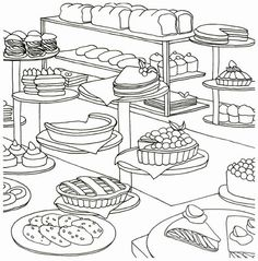 ONLY BAKERY Bread Food Coloring Book For Adult Painting ANTI-STRESS in Crafts, Painting, Drawing & Art, Drawing Supplies | eBay