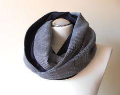 Pied de poule foulard / Casual gris et noir cercle écharpe / automne boucle col foulards chauds / fait à la main