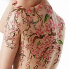 cherry-blossom-tattoos-full-back.jpg (333×336) love the way this one creeps over the shoulder