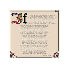 This pattern features the poem 'If' by Rudyard Kipling ( 1865-1936 )    The design will make an amazing wall hanging, and despite its size it will not take too long to stitch since most of the pattern is in backstitch.    Stitch it, frame it and display it in your office or home. A finished embroidery would also make a wonderful gift for a friend--- or son.      Design Area:    177 x 168 stitches    If stitched on 28 ct linen/ 14 ct aida the pattern will measure : 12,64 x 12,00 / 32,1 x…