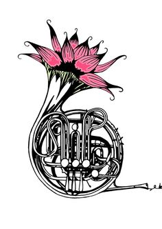 'French Horn' - Beautifully produced, high quality Fine Art Giclée prints for sale on Etsy - perfect for the budding musician!