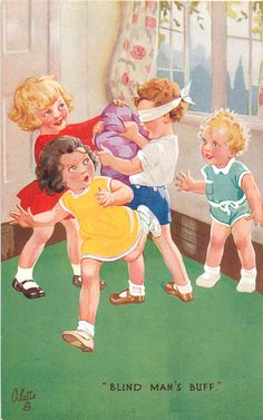 """BLIND MAN'S BUFF."" ~ vintage Oilette postcard"