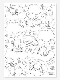 Cloud Drawing, Bunny Drawing, Bunny Art, Cute Animal Drawings, Animal Sketches, Cute Drawings, Kawaii Drawings, Bunny Sketches, Art Drawings Sketches Simple