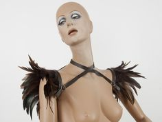 Brown versatile wings - feather shoulder harness, shrug and collar Shoulder accessory. $85.00, via Etsy.