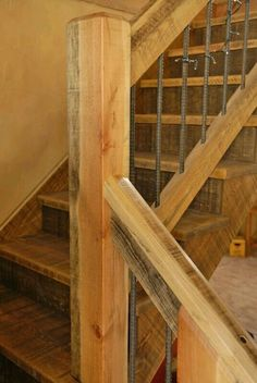 Tips And Ideas For DIY Pole Barn Are you looking for an easy, inexpensive way to add additional storage to your property? If so, a DIY Pole barn homes Rebar Railing, Stair Railing, Railings, Railing Ideas, Loft Railing, Banisters, Rustic Staircase, Staircase Design, Staircase Ideas