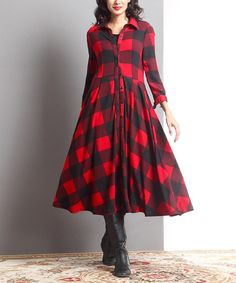 Another great find on #zulily! Red Buffalo Check Button-Up Maxi Dress #zulilyfinds
