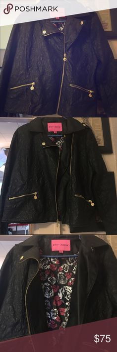 Faux Leather Betsey Johnson Jacket / Coat!!! Size XL. Entire jacket is embroidered with amazing stitching detail that pictures don't do justice too! True to size, maybe slightly larger. Great condition, only worn a few times. Amazing gold detailed buttons on collar, zippers on sleeves and cap shoulder buttons. Nice satin rose print liner. Lace up sides (can be removed if wanted, but actually very cute!) Just too large for my now! Bought brand new from Betsey Johnson only 2 years ago! Feel…