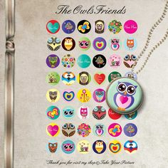 INSTANT DOWNLOAD The Owls Friends 1 inch circle Digital collage sheet 48 images for bottle caps and more