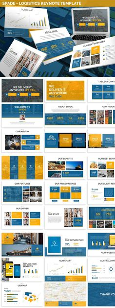 Spade - Logistics Keynote Template This is a Modern & Clean Theme Presentation for Keynote, you can use it for Logistics, Finance, Pitchdeck, etc., All elements are editable from a shape to colors no need another software to edit it, just use a Keynote. Features + 12 Files .Key + 3 Premade Colors Theme + Picture Placeholder (Drag & Drop) + Dark & Light Background + Widescreen & Standard + Documentation & Contact Support Layout/Content List + Cover...