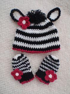 crochet hat  mittens gloves  zebra flower boy  girl  more sizes. 2t-4t ready to ship. $26.00, via Etsy.