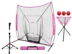 PowerNet DLX Pro Bundle (Baseball Softball Net w/ Strike Zone, 3 Training Balls, Travel Tee, & Ball Caddy) (Pink)
