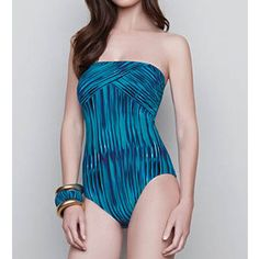 Gottex 15ME070 Mediterranean Sea Bandeau One Piece Swimsuit featuring polyvore fashion clothing swimwear one-piece swimsuits bandeau one piece swimsuit one piece swimwear bandeau swimsuit padded one piece swimsuit