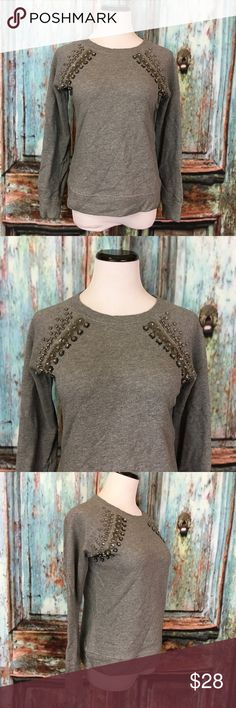 """Gray Sequined Jeweled Beaded Crewneck Sweater Woman's size XS, gently used with no flaws. Please see pictures for more detail.  Armpit to armpit-18"""" Length-23""""  Please note: The necklace is not for sale. :) J. Crew Sweaters Crew & Scoop Necks"""