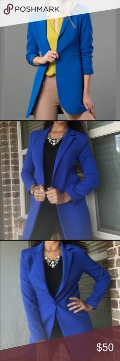 Beautiful blue jacket This is a beautiful shade of blue that is gorgeous on everyone. Very cool longer length, never worn. EU size 40 Milla Jackets & Coats Blazers