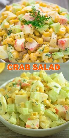 healthy dinner recipes videos Imitation Crab Salad quick and easy crab salad made with crunchy cucumbers, sweet corn, and hard-boiled eggs. Perfect for lunch, dinner, or o Appetizers For A Crowd, Seafood Appetizers, Seafood Recipes, Vegetarian Recipes, Dinner Recipes, Cooking Recipes, Healthy Recipes, Seafood Dinner, Seafood Salad