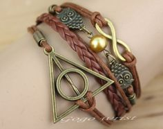antique harry potter deathly hallows bracelet, cute charm jewelry fashion , Infinity, the owl  bracelet   -z198