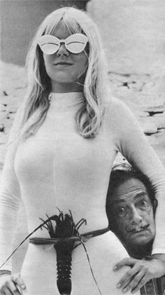 Dali, the King of WTF!  Lotte Tarp wearing Courreges sunglasses and a lobster while hanging with Salvador Dalì,- 1960