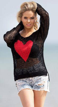 Heart knit top #fashion