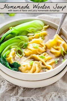 This Wonton Soup recipe is epically delicious with all the many layers of flavor and juicy homemade dumplings (or you can use store bought to save on time)! Creamy Chicken And Dumplings, Homemade Dumplings, Dumplings For Soup, Dumpling Recipe, Homemade Soup, Chinese Dumplings, Frozen Dumplings, Homemade Recipe, Bok Choy Recipes