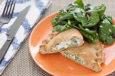 Broccoli & Ricotta Calzones with Spinach Salad. Visit http://www.blueapron.com/ to receive the ingredients.
