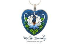 Enchanted Water-Lily Heart Pendant, Handmade Polymer Clay Jewelry with Swarovski Crystal, WEARABLE ART by WizArt Creations