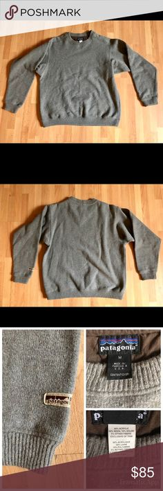 Patagonia Men's Wool Sweater made in USA Size M Excellent condition Men's Patagonia Wool blend sweater, older style made in USA. No rips, tears, holes or stains. Fully lined with contrasting blue fleece! Size M. Patagonia Sweaters Crewneck