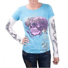 CHRISTIAN AUDIGIER Ed Hardy Double Sleeve Womens T-Shirt (Apparel)  http://www.amazon.com/dp/B007TXYMSM/?tag=reesho-20  B007TXYMSM