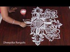 rangoli hand kolam rangoli rangolis lotus rangoli rangolidesigns kolamgal d. Rangoli Designs Flower, Rangoli Border Designs, Flower Rangoli, Beautiful Rangoli Designs, Simple Rangoli, Rangoli Borders, Free Hand Rangoli Design, Muggulu Design, Dots