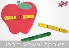 Toddler Approved!: Alphabet and Vowel Apples - Back to School Basics (Love! Would go great when we get to short vowel words!)