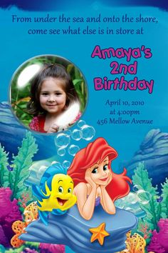 Little Mermaid Birthday Party Invitations 24 HOUR by Mrsinvites, $6.99