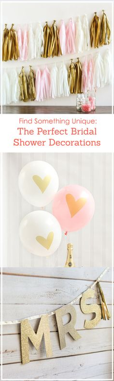 Celebrate the bride-to-be with a fun and unique bridal shower! Find the perfect decorations to shower her with love, from balloons to tassels! Disney Bridal Showers, Beach Bridal Showers, Unique Bridal Shower, Bridal Shower Party, Bachelorette Decorations, Bridal Shower Decorations, Bachlorette Party, Diy Streamer Decorations, Bride Shower