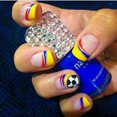 Multi-colored nail paint designing for nails - Fashionre Pretty Nail Designs, Nail Art Designs, French Nails, Soccer Nails, Cute Spring Nails, Hair Skin Nails, Nail Decorations, Nail Spa, Nail Art Galleries