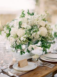 30 Stunning Ways to Infuse your Wedding with Greenery – Chic Vintage Brides : Chic Vintage Brides - White Wedding With Greenery Centerpieces Greenery Centerpiece, Low Centerpieces, Centrepieces, White Flower Centerpieces, Green Wedding, Floral Wedding, Summer Wedding, Mauve Wedding, Wedding Table Flowers