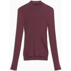 MAX&Co. Slim-fit ribbed mock turtleneck (€140) ❤ liked on Polyvore featuring tops, sweaters, burgundy, turtle neck sweater, slim fit sweaters, ribbed turtleneck, turtleneck sweater and purple sweater