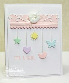 Sweetest Baby Card - Stamp & Scrapbook EXPO What a lovely simply card! Just beautiful! I need some nice smooth cardstock in pastels! Baby Girl Cards, New Baby Cards, Baby Shower Cards, Card Tags, Card Kit, Cool Cards, Scrapbook Cards, Scrapbook Expo, Creative Cards