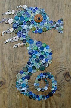button art seahorse