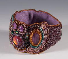 Purple Goldstone Bead embroidered Bracelet by kuzmadesign on Etsy