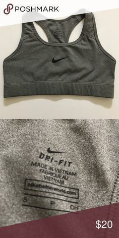Gray Dri-Fit Nike Sports Bra Only used 2x at most! I found it a little small for me and usually avoided using it. It's in amazing condition! ✨ Nike Intimates & Sleepwear Bras