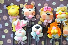 Pack of 10 Baby Animals Black Pens Cute Polymer by MonPetitPapier: