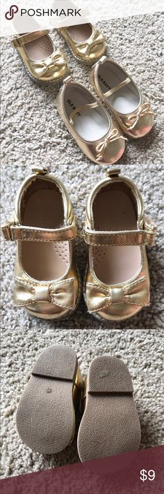 Baby girl Gold Shoes size 4 Two pairs of girls gold flats one from Old Navy the other from crazy eight. Old Navy fits 18-24 and crazy eight is a 4. Minor wear but great condition Old Navy Shoes Dress Shoes