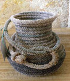 Lasso rope basket  dry flowers or kitchen utensil by JaneEHathaway, $45.00