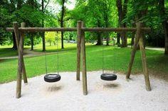 New rough beam double tire swing set. Play Houses, Amazing Gardens, Playground, Beams, Backyard, Garden Fun, Exterior, Outdoor Structures, Outdoor Stuff