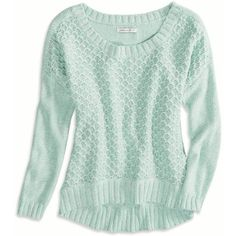 AE Chunky Sweater ($20) ❤ liked on Polyvore featuring tops, sweaters, shirts, long sleeves, mint, mint green shirt, longsleeve shirt, cuff shirts, american eagle outfitters shirts and long sleeve sweaters